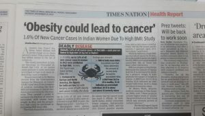 Obesity leads to cancer newspaper article