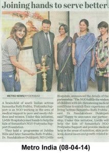 Livlife hospital joined hands to help the kids of samantha's NGO